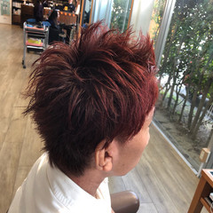 モード ヘアカラー レッド チェリーレッド ヘアスタイルや髪型の写真・画像