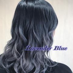 グラデーションカラー バレイヤージュ セミロング ハイライト ヘアスタイルや髪型の写真・画像