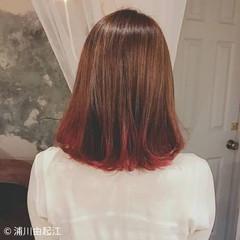ミディアム デート グラデーションカラー ゆるふわ ヘアスタイルや髪型の写真・画像