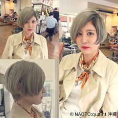 外国人風 ハイトーン ショート グラデーションカラー ヘアスタイルや髪型の写真・画像