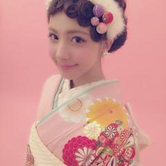 フェミニン ヘアアレンジ ガーリー ミディアム ヘアスタイルや髪型の写真・画像