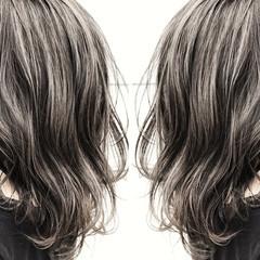 アンニュイ 斜め前髪 ストリート ミディアム ヘアスタイルや髪型の写真・画像