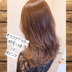 ベージュ デート ココアベージュ フェミニン ヘアスタイルや髪型の写真・画像