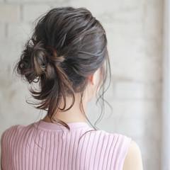 くせ毛風 簡単ヘアアレンジ ミディアム ショート ヘアスタイルや髪型の写真・画像