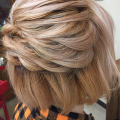 ショート ヘアアレンジ ゆるふわ 簡単ヘアアレンジ ヘアスタイルや髪型の写真・画像