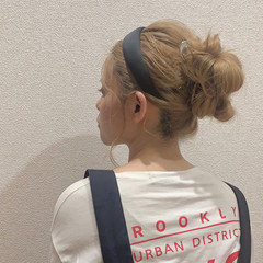 ヘアアレンジ お団子ヘア セミロング お団子 ヘアスタイルや髪型の写真・画像