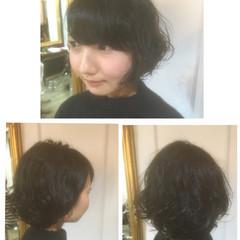 ボブ 暗髪 イルミナカラー ヘアワックス ヘアスタイルや髪型の写真・画像