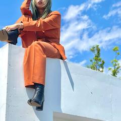 ミント デザインカラー ウルフカット マッシュウルフ ヘアスタイルや髪型の写真・画像