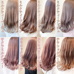 ナチュラル 切りっぱなしボブ ピンクベージュ オレンジベージュ ヘアスタイルや髪型の写真・画像