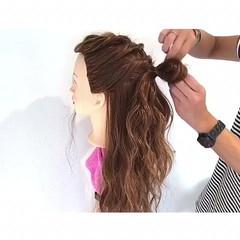簡単ヘアアレンジ ナチュラル 梅雨 女子会 ヘアスタイルや髪型の写真・画像