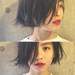 ミディアム 暗髪 パーマ ストリート ヘアスタイルや髪型の写真・画像