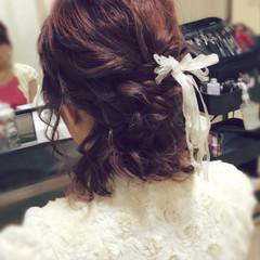 ヘアアレンジ 結婚式 デート リボン ヘアスタイルや髪型の写真・画像