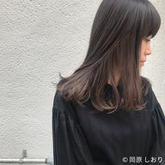 ブラウン モード 外国人風 セミロング ヘアスタイルや髪型の写真・画像