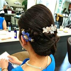 和装 ヘアアレンジ ミディアム 結婚式 ヘアスタイルや髪型の写真・画像