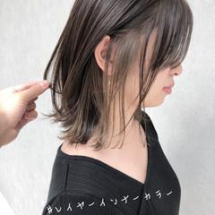 ナチュラル ミディアム インナーカラー ウルフカット ヘアスタイルや髪型の写真・画像