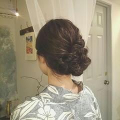 ロング 編み込み 夏 和装 ヘアスタイルや髪型の写真・画像