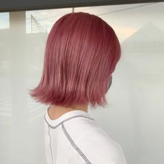 ミディアム ブリーチ ガーリー ピンク ヘアスタイルや髪型の写真・画像