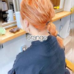 ボブ オレンジベージュ ストリート オレンジカラー ヘアスタイルや髪型の写真・画像