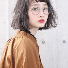 かわいい ベージュ ボブ 大人かわいい ヘアスタイルや髪型の写真・画像