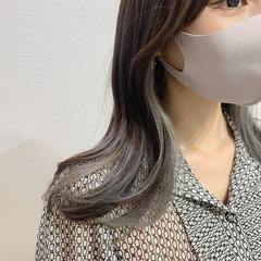 エレガント アッシュグレー 韓国ヘア セミロング ヘアスタイルや髪型の写真・画像