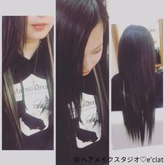 ロング 黒髪 ナチュラル ミディアム ヘアスタイルや髪型の写真・画像