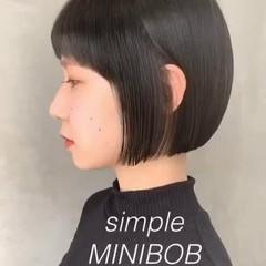 ボブ イメチェン イルミナカラー ミニボブ ヘアスタイルや髪型の写真・画像