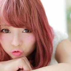 ヘアアレンジ 丸顔 ミディアム フェミニン ヘアスタイルや髪型の写真・画像