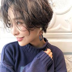 ショート 小顔 デジタルパーマ モテ髪 ヘアスタイルや髪型の写真・画像