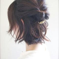 ハーフアップ ショート 夏 ヘアアレンジ ヘアスタイルや髪型の写真・画像