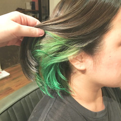 グレージュ ボブ インナーカラー ブリーチ ヘアスタイルや髪型の写真・画像