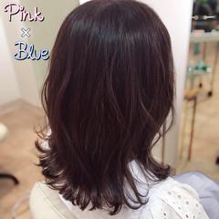イルミナカラー ミディアム 波巻き ピンク ヘアスタイルや髪型の写真・画像