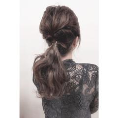 夏 ショート セミロング ハーフアップ ヘアスタイルや髪型の写真・画像