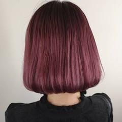 ストリート ボブ ピンク ダブルカラー ヘアスタイルや髪型の写真・画像