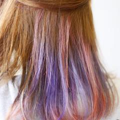 ストリート ハイトーン ミディアム インナーカラー ヘアスタイルや髪型の写真・画像