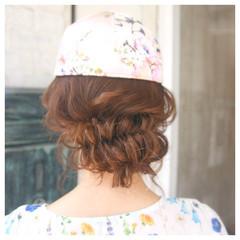 フィッシュボーン 女子会 編み込み セミロング ヘアスタイルや髪型の写真・画像