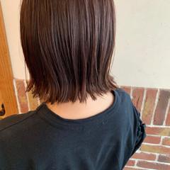 外ハネボブ レットバイオレット ナチュラル ピンクバイオレット ヘアスタイルや髪型の写真・画像
