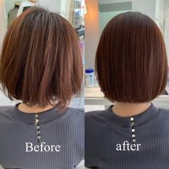 髪質改善トリートメント ボブ 縮毛矯正 髪質改善 ヘアスタイルや髪型の写真・画像