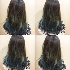 ブルーアッシュ ブルー ロング 外国人風 ヘアスタイルや髪型の写真・画像