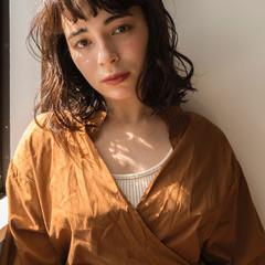 モード パーマ 黒髪 前髪パーマ ヘアスタイルや髪型の写真・画像
