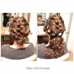ナチュラル ヘアアレンジ 二次会 セミロング ヘアスタイルや髪型の写真・画像