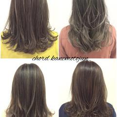 外国人風 グラデーションカラー セミロング アッシュ ヘアスタイルや髪型の写真・画像