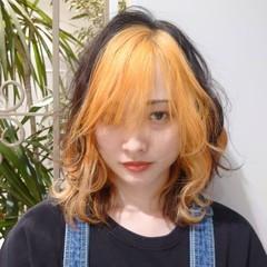 オレンジカラー インナーカラー エレガント ブリーチカラー ヘアスタイルや髪型の写真・画像