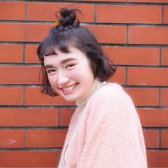 ハーフアップ ボブ ショート 簡単ヘアアレンジ ヘアスタイルや髪型の写真・画像