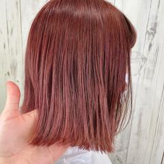 暖色 ピンクベージュ ボブ 切りっぱなしボブ ヘアスタイルや髪型の写真・画像