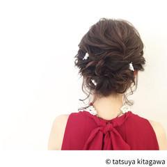 花嫁 ヘアアレンジ ハイライト ミディアム ヘアスタイルや髪型の写真・画像
