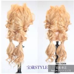 ヘアアレンジ ロング ツインテール くるりんぱ ヘアスタイルや髪型の写真・画像