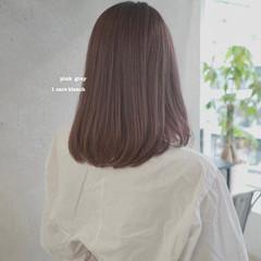 ピンクアッシュ ピンクパープル セミロング ピンクベージュ ヘアスタイルや髪型の写真・画像