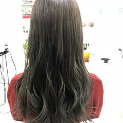 女子力 グレージュ ロング グレー ヘアスタイルや髪型の写真・画像