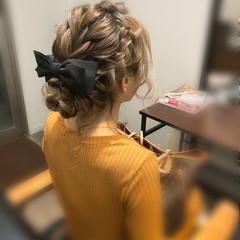編み込み ガーリー ヘアアレンジ アップスタイル ヘアスタイルや髪型の写真・画像