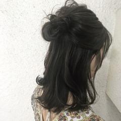 セミロング 外国人風 オフィス ハイライト ヘアスタイルや髪型の写真・画像